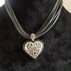 Silver/ Leather heart necklace